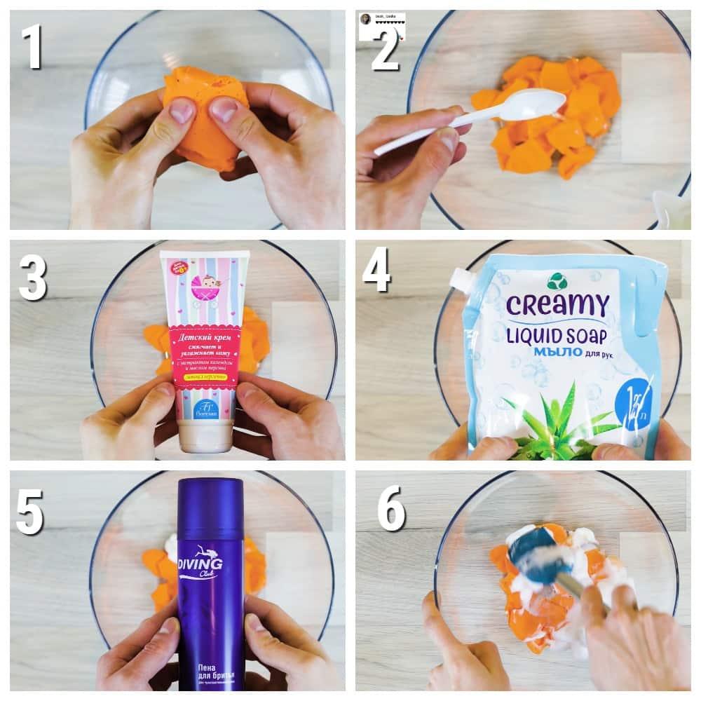 как сделать слайм из легкого пластилина без клея