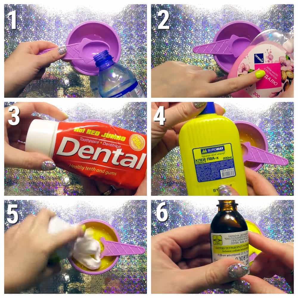 пошаговый рецепт слайма Из мыла и зубной пасты