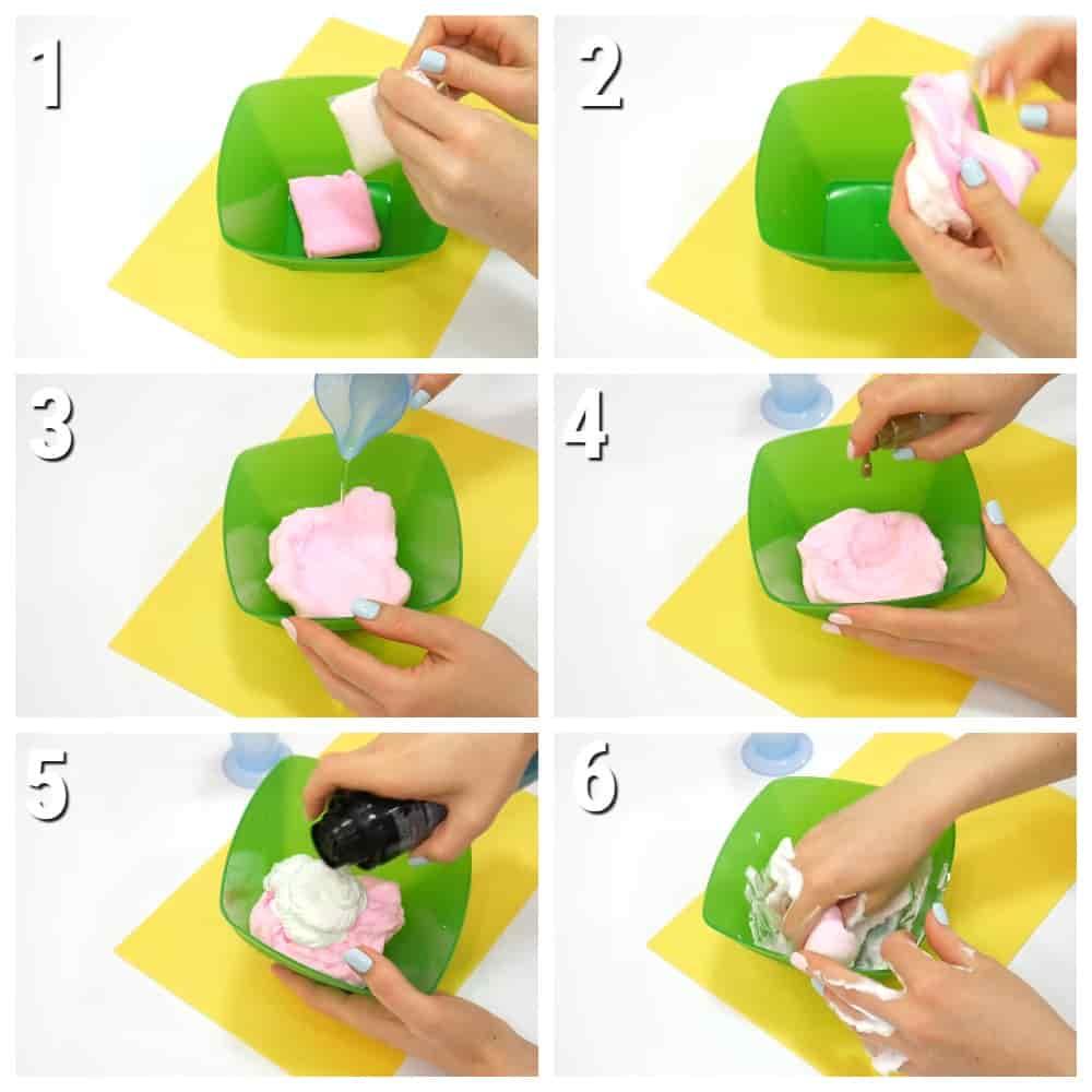 пошаговый рецепт слайма из легкого (воздушного пластилина)