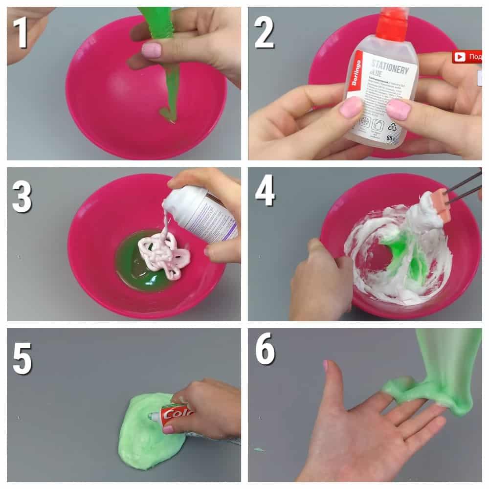 пошаговый рецепт лизуна Из силикатного клея и пены