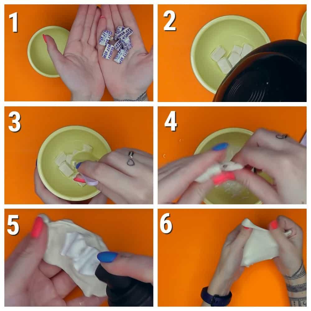 пошаговый рецепт слайма Из жвачки без клея
