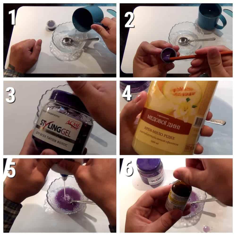 пошаговый рецепт слайма из геля для волос