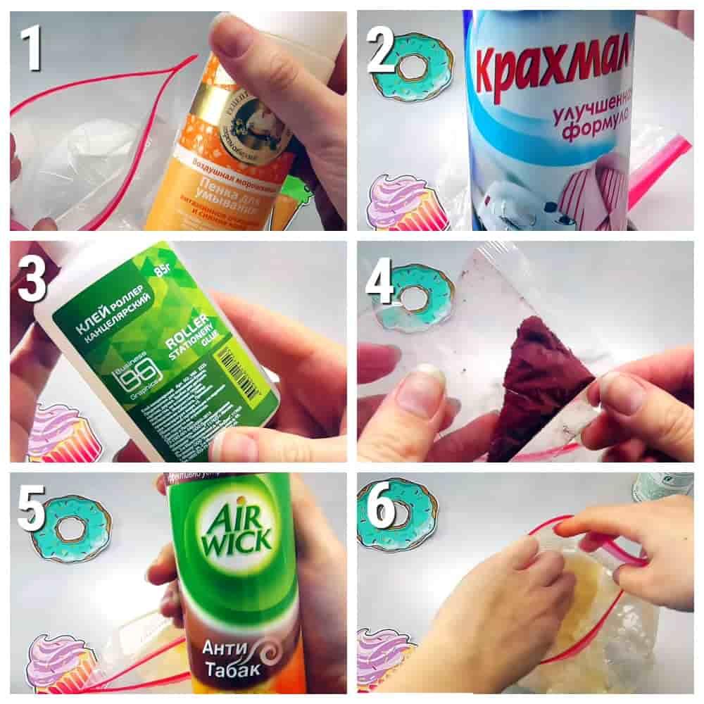 пошаговый рецепт лизуна в пакете без тетрабората
