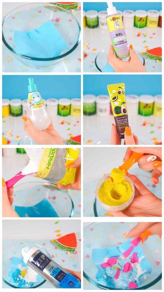 пошаговый рецепт слайма Из легкого пластилина и пены для бритья