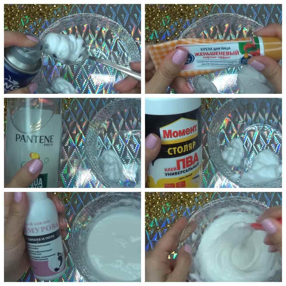 пошаговый рецепт слайма из шампуня крема пены для бритья