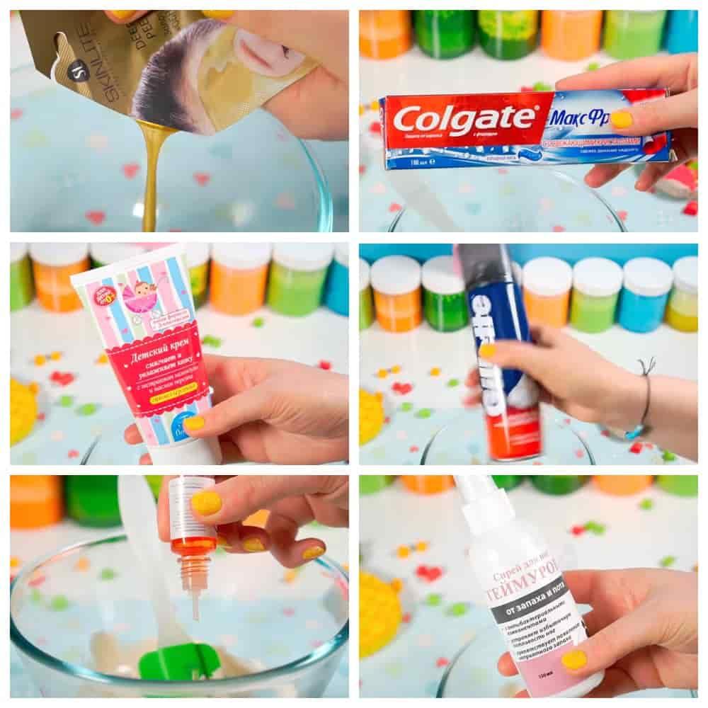 пошаговый рецепт слайма Из маски пленки и зубной пасты